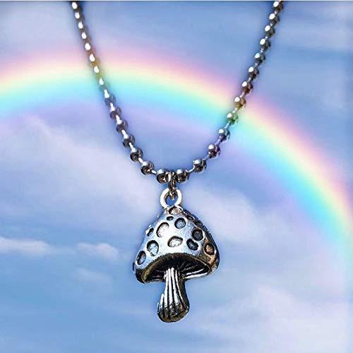 Herren HalsketteHarajuku Mushroom Metal Anhänger Halskette Für Frauen Männer Pflanze Vintage Punk Cool Choker Halskette Mode Statement Schmuck Neuheit