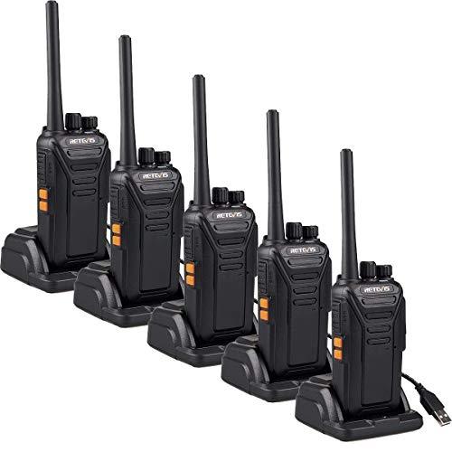 Retevis RT27 Portofoons Professionele Walkie Talkie PMR446 Vergunningsvrije 16 Kanalen CTCSS/DCS VOX Walkie Talkies met USB-laadstation (5 Stuks, Zwart)