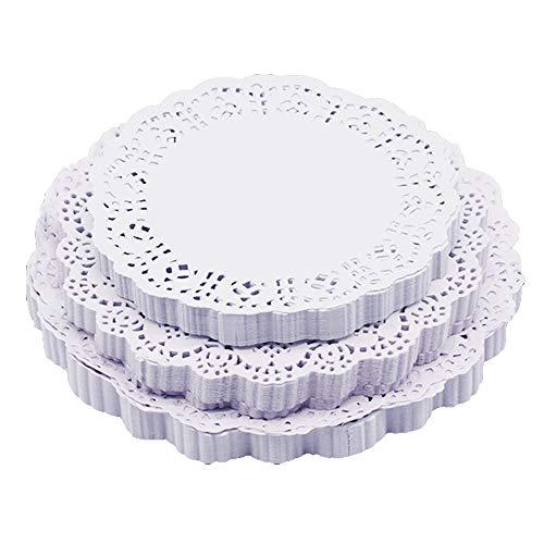 DXIA 300 Stück Weiße Spitze Papier, Rund Papierdeckchen, Tortenspitze Papier, 3 Größen, 4.5 Zoll, 6.5 Zoll, 8.5 Zoll, Tortenspitze Kuchen,Kuchen Verpackung Pads für Hochzeiten,Geschirrdekoration