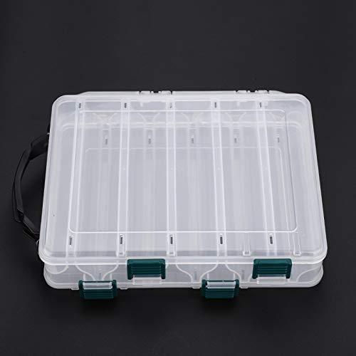 Caja de cebos de pesca de plástico de doble cara, bandejas de almacenamiento de aparejos transparentes ligeros con orificios de drenaje para cebos de señuelos - Caja contenedor organizador(10 cells)