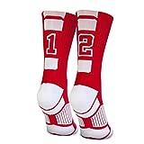 Custom Team Number Crew Socks   Athletic Socks by ChalkTalkSPORTS   Red   12