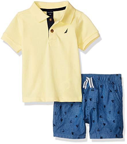Nautica Baby Boys 2 Pieces Polo Shorts Set, Yellow/Blue, 3-6 Months