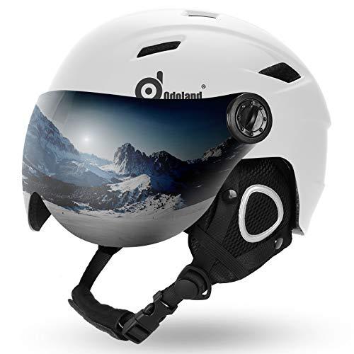 Odoland Erwachsene Skihelm Skihelm mit Visier, Leichter Race-Helm mit Helmvisier für Männer und Frauen, Snowboardhelm ASTM-Sicherheitszertifikat Weiß L-57-59cm
