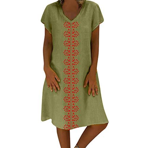 ReooLy Señoras Vestidos de algodón y Lino, Estilo de Verano con Cuello en V de Las Mujeres Vestido Informal de Gran tamaño de Longitud Media(Verde,L)