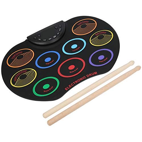 COHU E-Drum-Pad, Leichtes tragbares faltbares Percussion-Musik-Silikon-Elektro-Schlagzeug Farbiger Roll-Up Akku Dual USB Power Teaching Drum Übungspad mit Drumsticks für Kinder, Anfänger(Bunt)