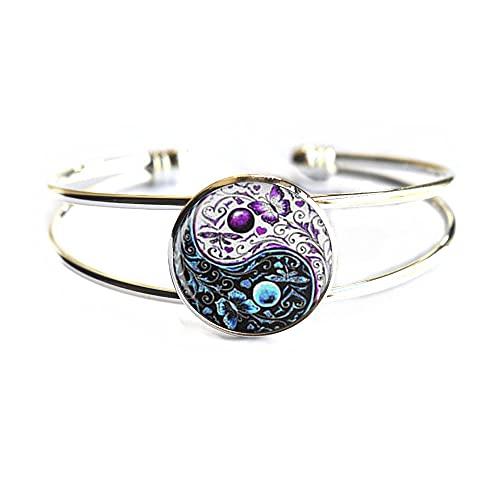 Nuevo Tai Chi mariposa cristal cabujón pulsera joyería plata cadena brazalete mujeres hombres mejor regalo, PU352