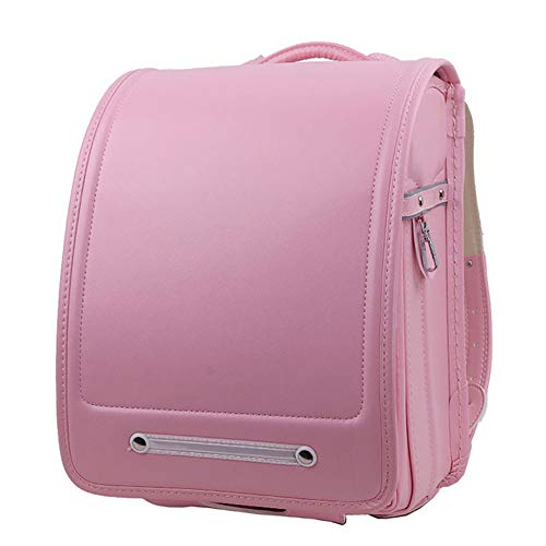 YMXLJJ Fully-automatic Japanese School Bags, for Girls Boys PU Leather Child Backpack,Pink