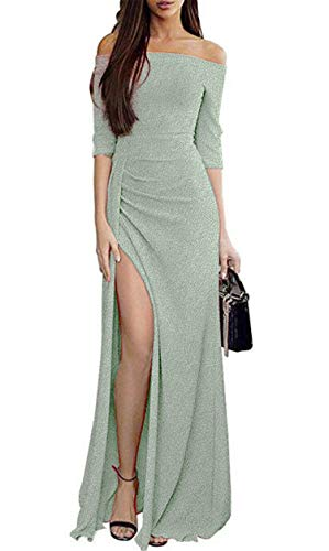 JIER Damen Schulterfrei Glänzend Cocktail Lang Kleid Glänzend Abendkeider Hochzeit Festlich Kleider Cocktailkleider Maxikleider Asymmetrisches Partykleid (Grün,XX-Large)