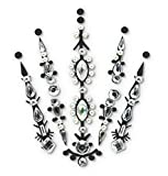 FunkOn Silver Face Gems/Jewels for Festivals/All In one Stick on Headpiece/Festival Bindi Rhinestone Tattoo/Forehead Jewellery/Glitter Face/Body Makeup -FAIRY QUEEN BC10silv