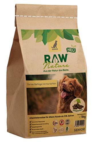 RAW Nature Trockenfutter Senior | Natürlich Kaltgepresst | Getreidefreies Hundefutter | Muskelfleisch | Vollwertkost | ohne künstliche Zusätze | hoher Fleischanteil | für Hunde ab 7/8 Jahren (5 kg)