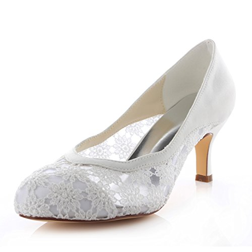 Emily Bridal Zapatos de Novia de Encaje con Punta Redonda Zapatos de...