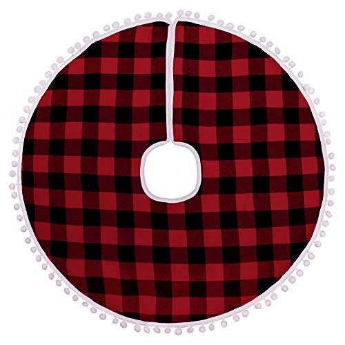 MACTING Christmas Tree Skirt, 30 inches Tree Skirt with Red and Black Plaids Tree Foot Base Cover Xmas Tree Skirt for Christmas Home Decoration