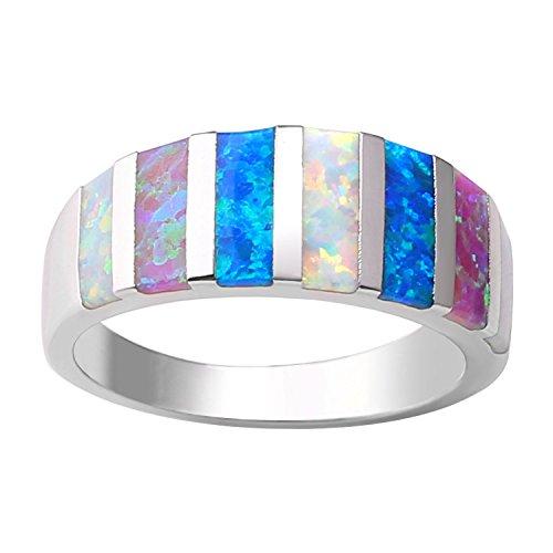 KELITCH Bunt Streifen Muster Opal Ring 925 Sterling Silber Überzogen Ringe Zum Frau Mädchen - Größe PQ