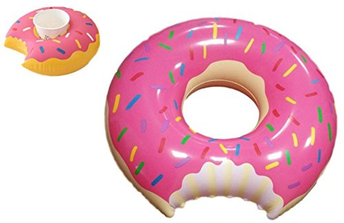 Arbitron Global 48 inch Inflatable Pink Donut Pool Float & Bonus Mini Pink Donut Drink Holder Pool Floatie- Summer's Hottest Accessory Pool Accessory Bundle - Fun for All Ages