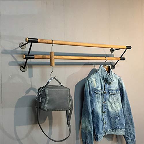 FKKleiderstangen Wand befestigte Wäschehängestange, Handel Kleidung Display Rack, 2 Holzstäbe, 4 Eisen Bases, Länge 60cm, 80cm, 100cm, 120cm (Size : 120cm)