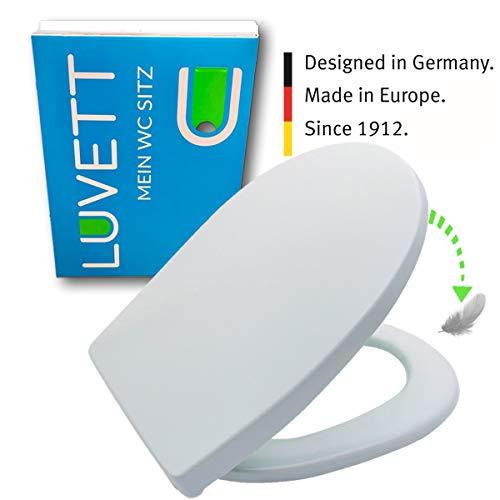 LUVETT WC-Sitz C100 oval mit Absenkautomatik SoftClose® & TakeOff® EasyClean Abnahme, Duroplast Toilettendeckel, Farbe:Ägäis