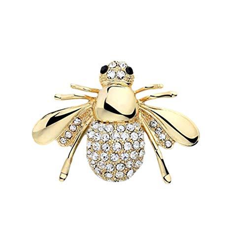 N / A Nigoz - Broche de abeja vintage con diseño de abeja, aleación de animales y cristal, regalo para mujer, color dorado, calidad superior y creativo, práctico y rentable.