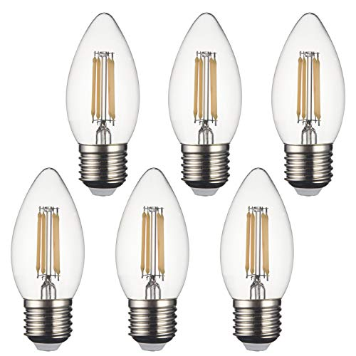 SD LUX E27 LED Candle Bulbs Vintage Filament Led Light Bulbs,C35 No Flicker Small Edison Screw LED Chandelier Bulbs - 4W (40W Equivalent) 450LM Warm White 2700K,6 Packs