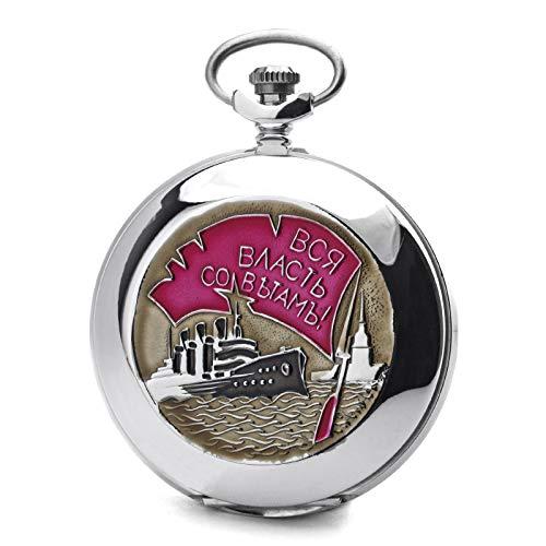 Molnija Taschenuhr 3602 OKTOBERREVOLUTION 70 Jahre Jubiläum russisch mechanische Uhr