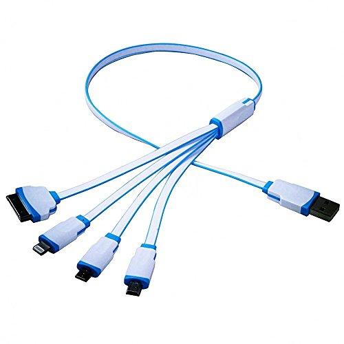Cable de carga 4en 1 SS Tech, cable de carga de adaptador USB con conectores micro USB 2.0, Lightning de 8pines, 30pines y puerto Mini USB para iPhone 6s, 6s Plus, iPhone 6, 6 Plus, iPhone 5/5S/5C/SE, iPad, Samsung Galaxy S6, S5, Note 4, 5, Nexus 5X, HTC y otros móviles