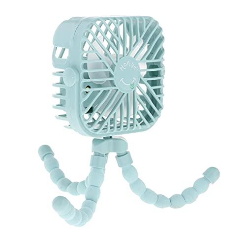 P Prettyia Ventilatore portatile con USB, ventilatore a batteria, silenzioso, portatile, portatile, portatile, portatile, portatile, portatile, per seggiolino auto da scrivania, colore blu