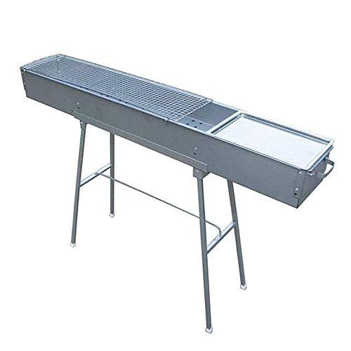 PLEASUR Tragbarer Grill und wild zusammenklappbares Picknickregal, Stabiler und langlebiger Holzkohlegrill aus Zink-Eisen-Legierung, 120 * 80 * 18 cm