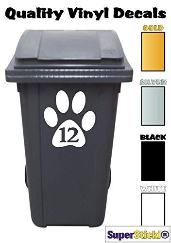 Supersticki Poten Afdruk hond kat aantal huisnummer vuilnisbak 20 cm sticker decal van high-performance folie autosticker tuningsticker voor alle gladde oppervlakken UV- en wasstraatbestendig