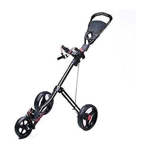 HLR Golftrolley Zieh Golfcarts Faltbare Golf Trolley 3-Rad, Golf Push Cart Golf Cart Swivel Faltbare Push-Pull-Wagen Golf-Trolley zusammenklappbarer Wagen eine Sekunde öffnen