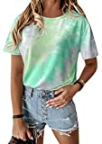 EFOFEI Camiseta estampada Tie Dye para mujer, color degradado pastel