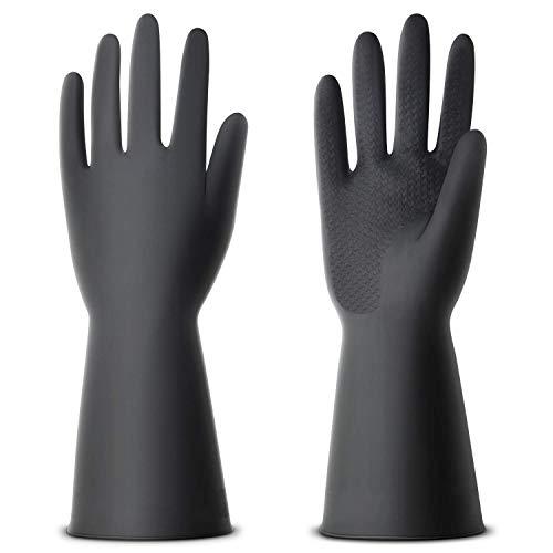 NexStar Multipurpose Non-Slip Rubber Reusable Gardening Dishwashing Scrubbing Cleaning Gloves (Black, 9 Inch,Pack of 1 pair )