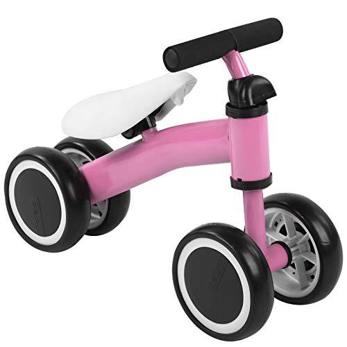 AYNEFY Bicicleta sin pedales para bebés a partir de 1 año hasta 2 años, ruedas de equilibrio con 4 ruedas, sin pedales, ayuda para aprender a andar, para niños y niñas, como regalo (rosa)
