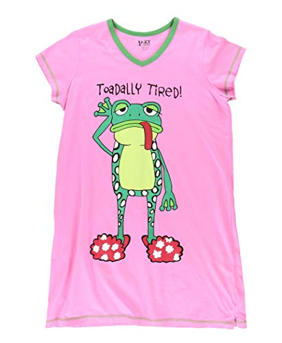 Lazy One V-Neck Nightshirts for Women, Animal Designs (Toadally Tired, L/XL)
