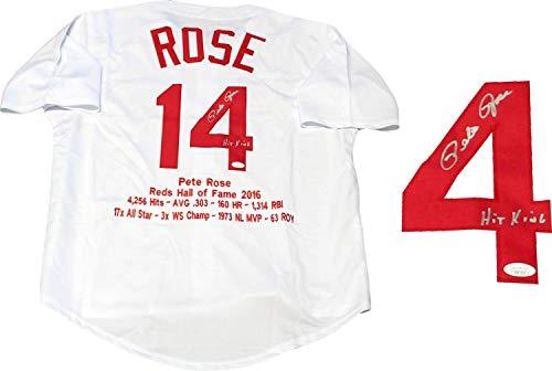 Pete Rose'Hit King' Autographed Embroidered Stat Cincinnati Reds Jersey. (JSA) - Autographed MLB Jerseys