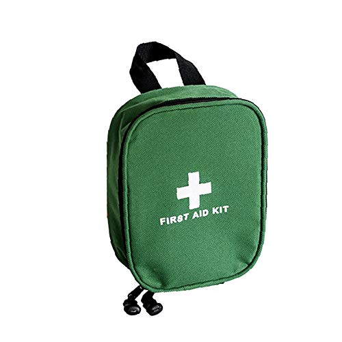 Portable First Aid Kit, 46 Piece Emergency Survival Medical Supplies with Compartment, Small Trauma Bag for Travel Camping,Green