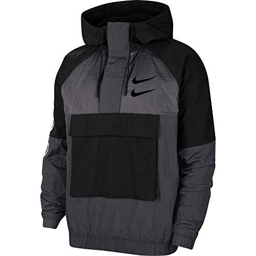 Nike Sportswear Swoosh Men's Woven Jacket CU3885-070 BLACK/ANTHRACITE/DARK GREY/BLACK (XL)