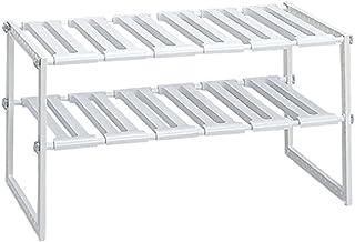 Belca キッチン収納 シンク下フリーラック ワイド 伸縮タイプ 幅50~75×奥行39.4×高さ40cm ホワイト KW2-EX