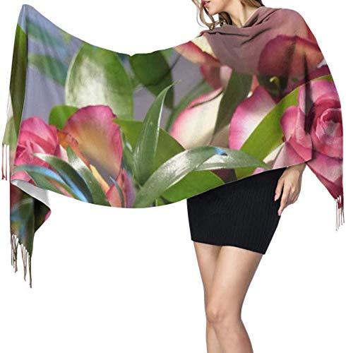 Rose Ecuador Rose Roze Decoratieve Blossom Bloom Fringe Deken Sjaal Mode Cashmere Sjaal Goedkope Sjaal 77