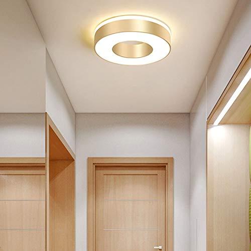 Lámparas LED de Techo Redonda de 18 W, Luz de Techo Moderna Lámpara de Plafón Interior Lámpara para Balcón Escalera Focos de Techo Efecto de Montaje en Superficie Luces de pasillo, Dorado