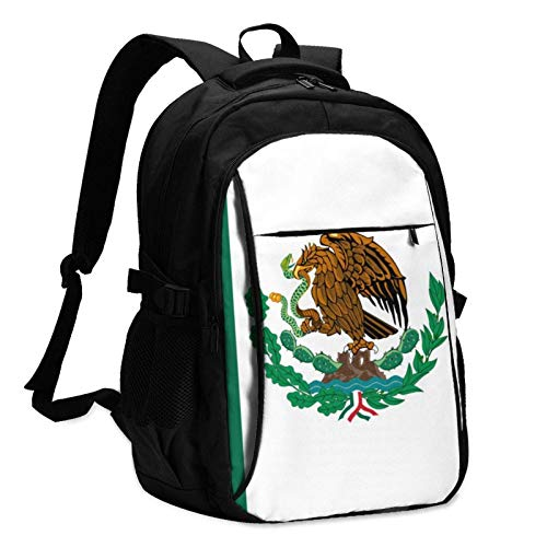 XCNGG Mochila USB con múltiples Bolsillos, Mochila Informal, Mochila Escolar Mexico Flag Travel Laptop Backpack with USB Charging Port Multifunction Work School Bag