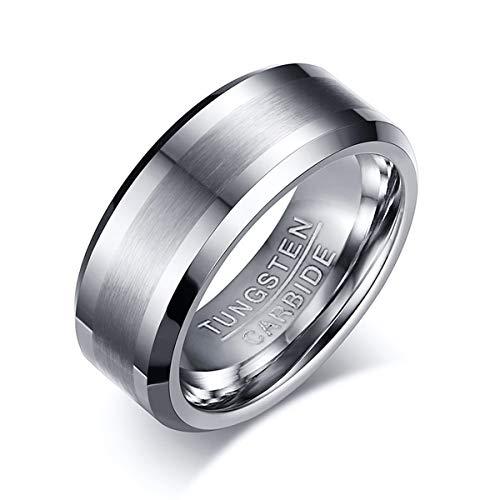 XJYA Wolframringe für Männer Frauen Verlobungs-Hochzeitsband Gebürsteter Edelstahl Komfort Fit Größe 7-12,10#