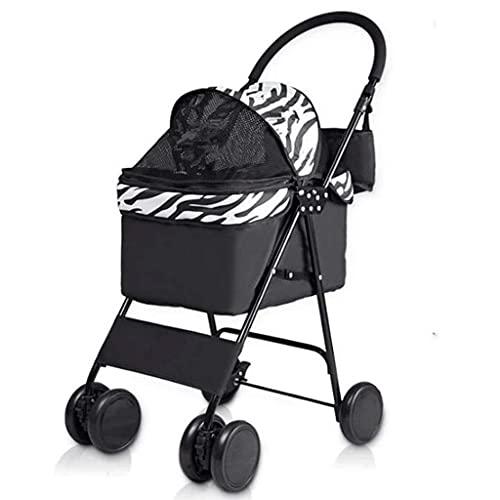 N&W Pet Stroller Large Dog Stroller Maximum Weight 10Kg with 4 Big Wheels Pet Travel Pushchair Foldable Trolley (Color : V)