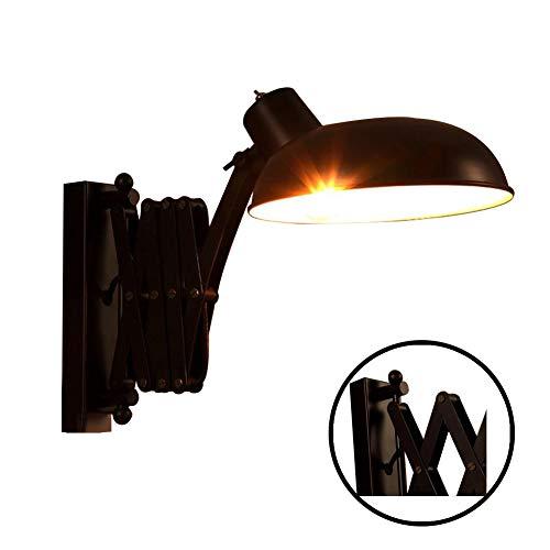 BDWN Falte Wandhalterung Schwenkarm Wandleuchte Wandleuchte Retro Industrielle Eisen Wandwäsche schwarzer Metall Lampenschirm, für Wohnzimmer Arbeitszimmer Kaffee Kaffee 360 ° verstellbar 110-240V