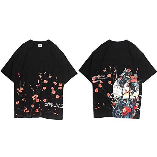 Camiseta de Hip Hop Hombres Streetwear Camiseta de Harajuku de Dibujos Animados Camiseta de Manga Corta de Verano Tops de algodón