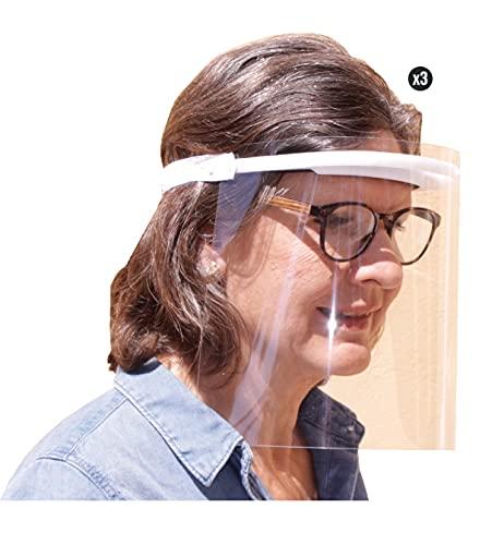 KMINA PRO - Pantallas Protectoras Faciales (Pack x3 uds.), Pantalla Protección Facial, Visera Protección Facial, Protectores Faciales, Pantalla Protección Facial Gafas, Fabricadas en España
