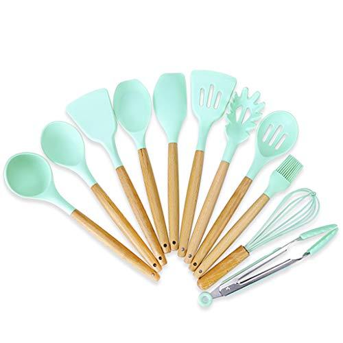 EODNSOFN 11pcs Manera de Madera Gel de sílice Utensilios de Cocina de Utensilios de Cocina Pan Shovel Shovel Set El Set satisfará Todas Sus Necesidades de cocinar