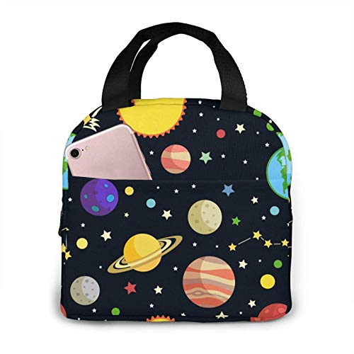 Space Planet Lunch Bag For Women/Men/Kids- Reusable Lunch Box For Office Work School Picnic Beach, Insulated Lunch Tote Bag