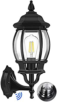 Brightever Dusk to Dawn Wall Sconce with Clear Glass Shade