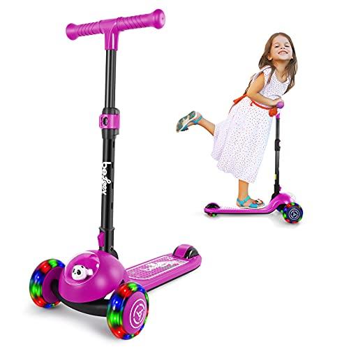 BELEEV Patinete infantil de 3 ruedas para niñas y niños, plegable, con ruedas de luz LED, para niños pequeños a partir de 3 – 8 años (morado)
