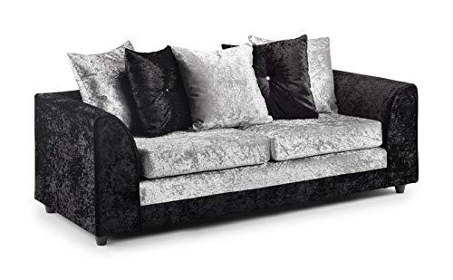 Honeypot - Sofa - Harley - 3 + 2 Seater - Corner Sofa - Footstool - Crushed Velvet - (Black/Silver, 3 Seater)