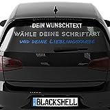 Blackshell® Wunschtext Aufkleber Auto Motorrad Fahrrad Boot - klebt auf jeder glatten Oberfläche - Aufkleber selbst gestalten - 15cm bis 124cm Breite - Auto Aufkleber Buchstaben Aufkleber car Sticker